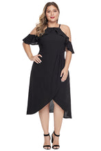 Load image into Gallery viewer, Black Off Shoulder Drop Sleeve Plus Size Dress
