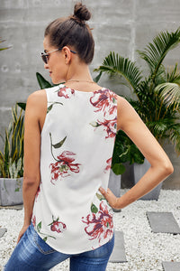 White Floral Sleeveless V Neck Zip Up Tank Top