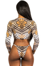 Load image into Gallery viewer, Totem African Print Long Sleeve Tanga Swimsuit