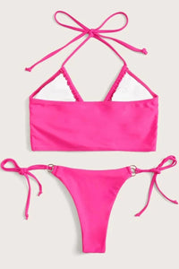 Rose Halter Top With Ring Linked Tie Side Bikini