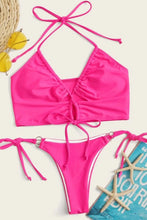 Load image into Gallery viewer, Rose Halter Top With Ring Linked Tie Side Bikini