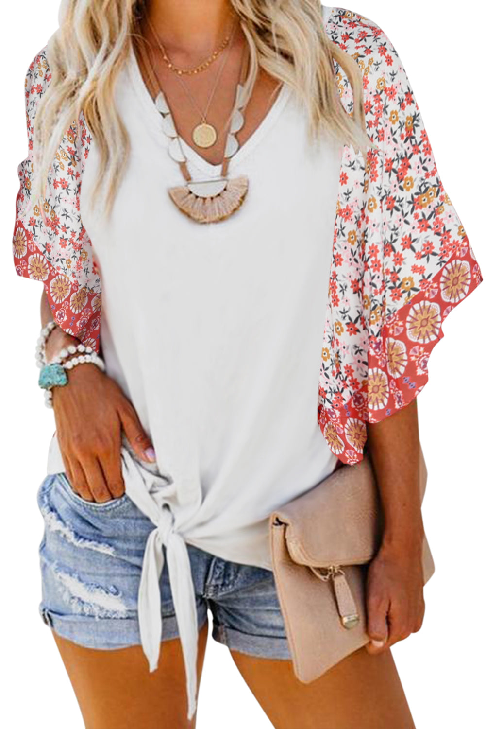 White Fashion Casual Short Sleeved Printed Top T-Shirt