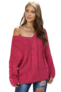 Rose Bubblegum V-Neck Braided Knit Sweater