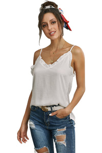 White V-Neck Ruffle Adjustable Spaghetti Strap Tank Top