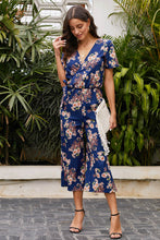 Load image into Gallery viewer, Blue Wrap V Neck Floral Wide Leg Jumpsuit with Belt