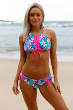 Load image into Gallery viewer, Blue Floral Rosy Trim Lace Up Tankini