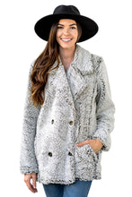 Load image into Gallery viewer, Gray Double-breasted Lapel Plush Jacket