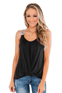 Black Somewhere Next To You Twist Tank Top