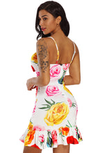 Load image into Gallery viewer, Sunflower Print Cut Out Frill Hem Mini Dress