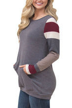 Load image into Gallery viewer, Multicolor Stripes Sleeve Pullover Light Gray Sweatshirt