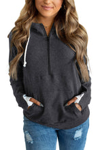 Load image into Gallery viewer, Gray Half-zip Quilted Ampersand Hoodie