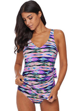 Load image into Gallery viewer, Purple Abstract Print Maillot Swimwear