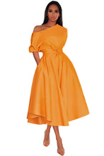 Load image into Gallery viewer, Orange One-shoulder Waist Cincher Puffy Party Dress