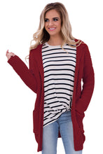 Load image into Gallery viewer, Red Long Open Front Pocket Cardigan