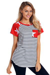 Star Short Sleeves Red Black American Flag T-shirt