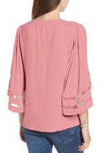 Load image into Gallery viewer, Pink Criss Cross Neck 3/4 Bell Sleeve Blouse