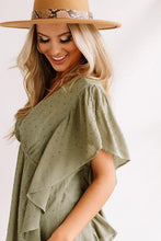 Load image into Gallery viewer, Green V Neck Draped Dotted Pattern Tunic Top