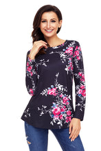 Load image into Gallery viewer, Black Long Sleeve Floral Autumn Womens Top