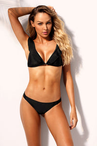Black Ruffle V Neck Triangular Bikini 2pcs Swimsuit