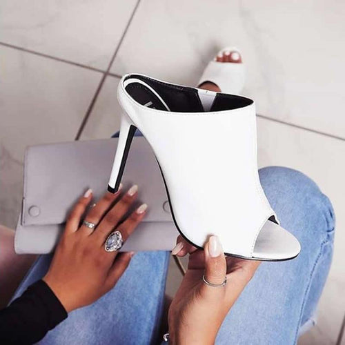 2020 Fashion Sexy Women Sandals Gladiator Summer Pu Slippers Thin High Heels Sandals Slip-On Peep Toe White Dress Party Shoes