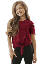 Load image into Gallery viewer, Burgundy Cut Out Shoulder Tie Front Tee