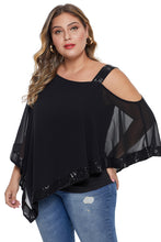 Load image into Gallery viewer, Asymmetric Cold Shoulder Plus Size Blouse