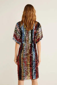 Multicolor Sequin Deep V Neck Tunic Dress