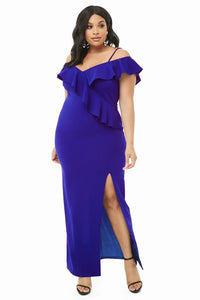 Blue Plus Size Open Shoulder Ruffle Dress