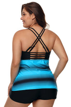 Load image into Gallery viewer, Blue Black Ombre Print Strappy Tankini and Short Set