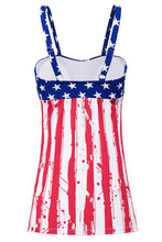 Load image into Gallery viewer, Multicolor Stripes and Stars Flag Print Tummy Control Tankini