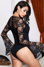 Load image into Gallery viewer, Black Flare Lace Sleeve Ribbed Bodysuit