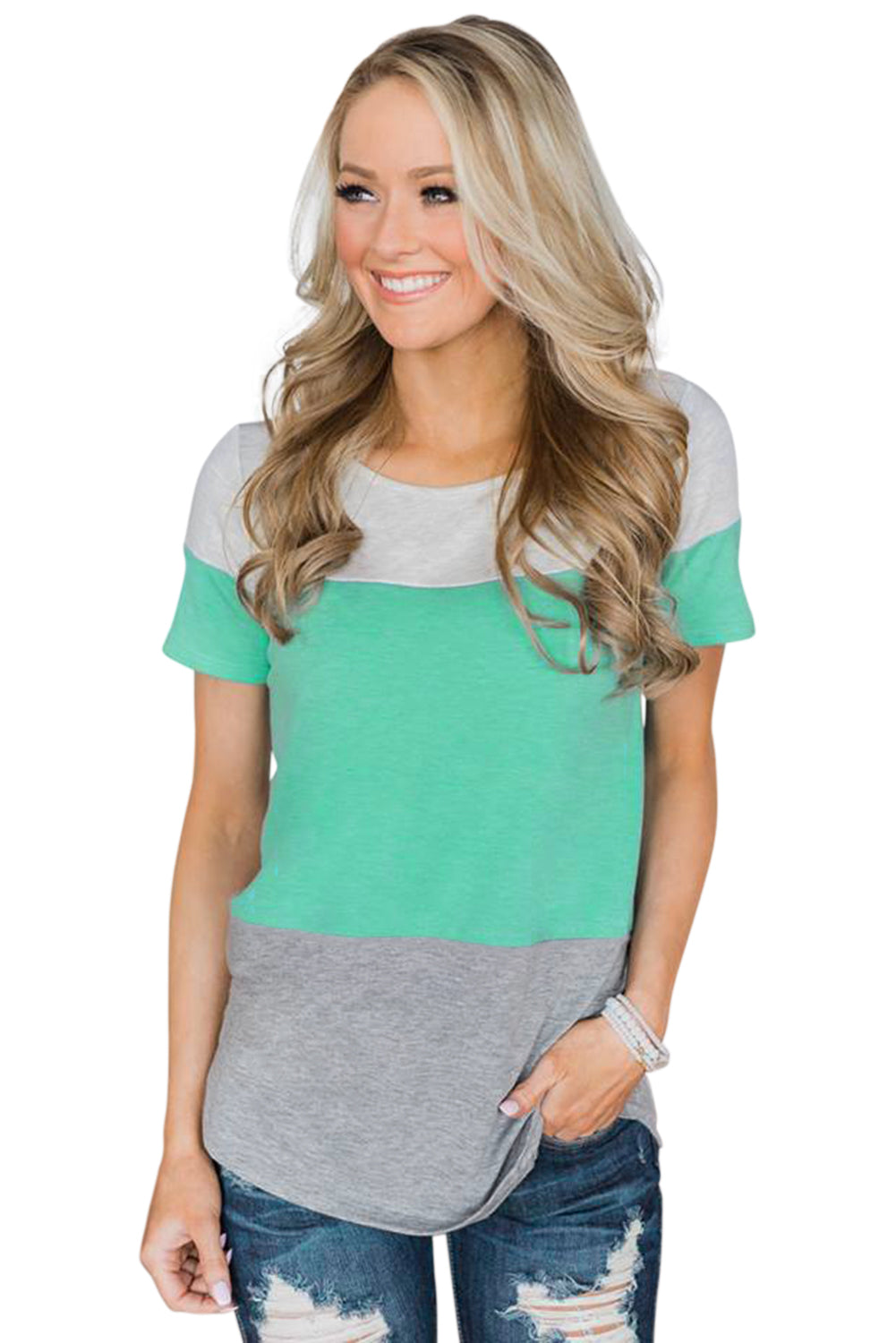 Green Contrast color T-shirt