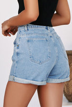 Load image into Gallery viewer, Sky Blue Vintage Denim High Waisted Folded Hem Jeans Shorts