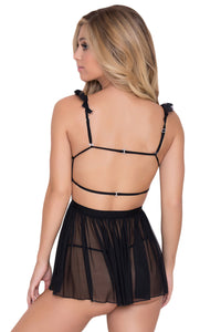 Solid Black Eyelash Lace Trim Babydoll with Thong