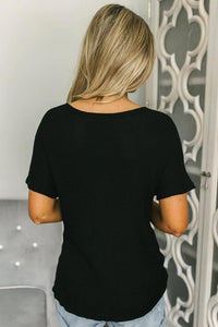 Black Button Down Front Knitwear Blouse