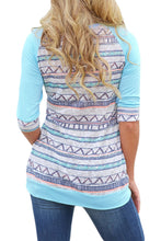 Load image into Gallery viewer, Light Blue Raglan Sleeve Lace Pocket Detail Printed Top