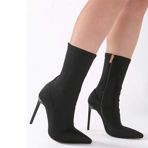 Ankle Sock Boots Thin Heel High Heels Elastic Ankle Boots Pointy Toe Women Shoes Sexy Party Ladies Comfort Boots Spring/Autumn Black