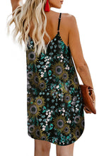 Load image into Gallery viewer, Black Floral Pattern Buttoned Slip Cami Dress