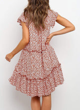 Load image into Gallery viewer, Red Boho Summer Holiday Floral Dress