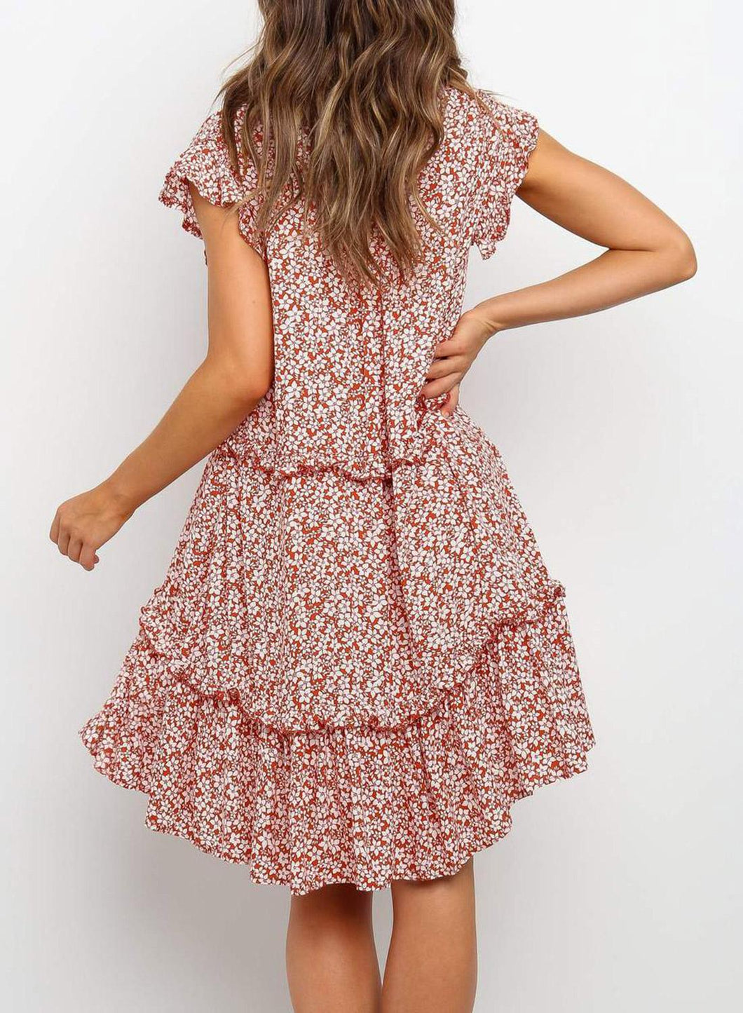 Red Boho Summer Holiday Floral Dress