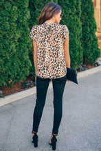 Load image into Gallery viewer, Wild Child Shimmer Leopard Ruffle Blouse