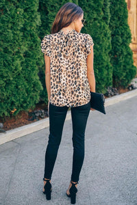 Wild Child Shimmer Leopard Ruffle Blouse