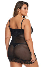 Load image into Gallery viewer, Black Lace Décor Plus Size Chemise Lingerie