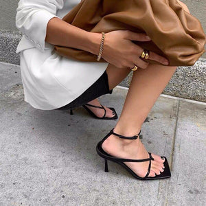 2020 Summer New Fashion Pinch Narrow Band Women Gladiator Sandal Ladies Square Open Square Toe Ankle Buckle Strap Stiletto Heels Black