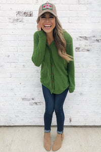 Green Open Front Pocket Button Down Knit Cardigan Coat