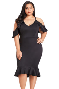 Black Plus Size Ruffle Cold Shoulder Flounced Dress