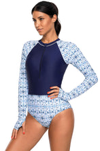 Load image into Gallery viewer, Chic Print Zip High Neck Long Sleeve Rashguard Swimsuit