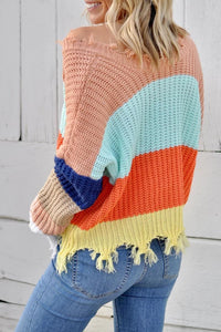 Apricot Colorblock Distressed Sweater