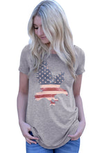 Load image into Gallery viewer, America Flag Eagle Grey Daily T-shirt