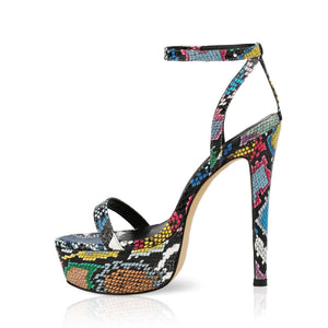 2020 New Summer Sexy Women High Heels Snakeskin Sandals 15Cm Fashion Stripper Shoes Party Pumps Shoes Women Platform Sandals